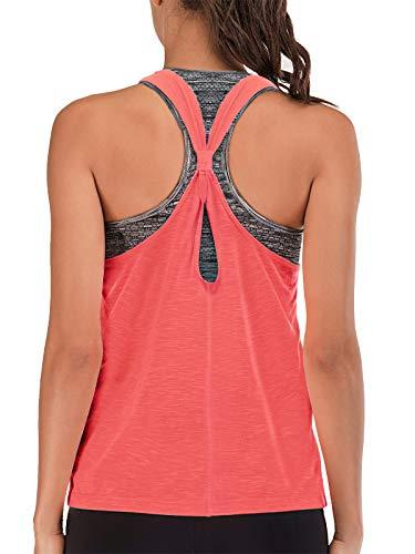 FAFAIR Yoga Tanktops für Damen Sport Tops mit BH 2 in 1 Workout t Shirt Fitness Training Pink&Gray S