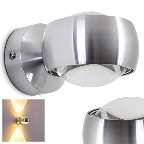 Wandleuchte Sapri halbrund aus Metall mit Effekt-Licht an der Wand in Silber - halbrunde moderne Wohnzimmerleuchte mit Glas-Linsen für LED oder Halogen-Lampen
