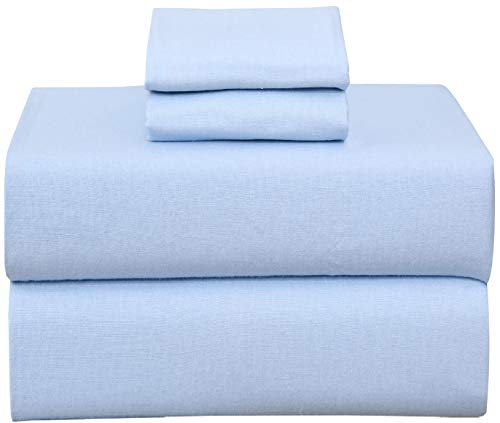 Ruvanti 100% Cotton 4 Pcs Flannel Sheets Set, Queen Bed Sheets Sky/Light Blue, Deep Pocket All Seasons, Warm, Super Soft, Breathable, Moisture Wicking Sheets Include Flat, Fitted Sheet, 2 Pillowcases.