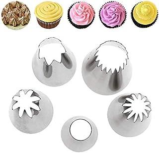 Hi Collie Lot de 5 Grandes Douilles à pâtisserie en Acier Inoxydable 304 DIY Kits Pour Pâtisserie et Décoration de Cupcakes