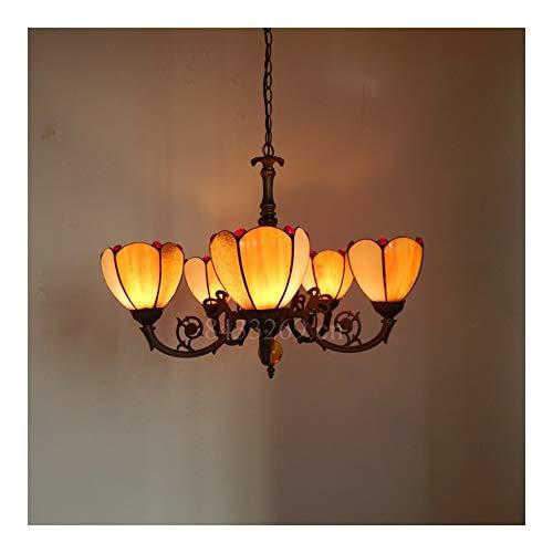 GUANGHEYUAN-J Tiffany-Style La lámpara Pendiente de Cristal Hecha a Mano, Estilo Europeo 5 Arma la luz de Descenso for la decoración casera, Decoración del hogar (Color : 3)