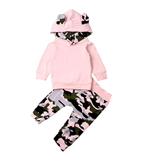 Newborn Infant Baby Boy Girls Camouflage Clothes Hooded T-Shirt Tops+Pants Outfits (18-24 Months, Camo&Pink)