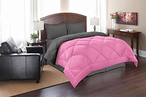Super Soft Goose Down 3pc REVERSIBLE Alternative Comforter, KING, Pink/Gray