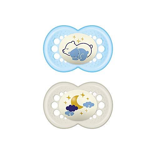 MAM Original Night Astro, Set de 2 Chupetes de Silicona, Azul, 6+ Meses