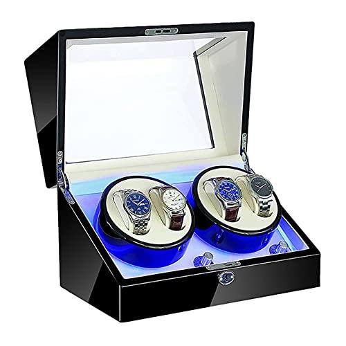 AWJ Cajón de Almacenamiento para Relojes y Joyas Enrollador automático de Relojes 4 con iluminación LED Adaptador de CA y Fuente de alimentación Dual alimentada por Bate