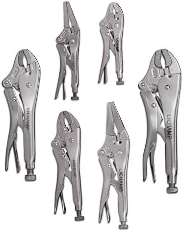 Lichamp 6 Pack Locking Pliers Set 5 7 10 12 inch Curved Jaw Grip Pliers and 6 9 inch Long Nose product image