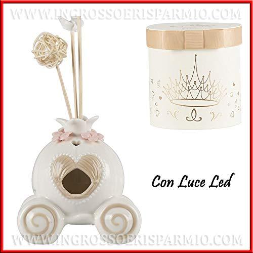 Ingrosso und Spardose Cinderella-Kutsche aus Porzellan mit LED-Licht, Gastgeschenke für Taufe, Kommunion, Mädchen, mit Geschenkbox