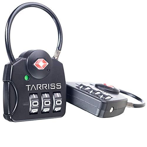 Tarriss TSA Luggage Lock with SearchAlert (2 Pack) (Black)
