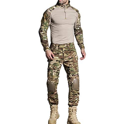 Herren Sportbekleidung Tactical Passt Military Combat Uniform Lange Ärmel Shirt Hose Frosch Trainingsanzug Tarnung Sportanzug Kniepolster Sportanzug Military