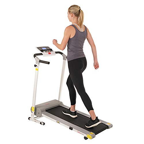 Sunny Health & Fitness Easy Assembly Motorized Walking Treadmill, White