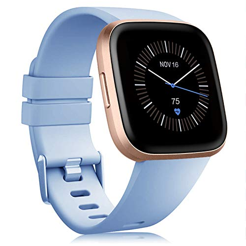 Onedream Pulsera Compatible con Fitbit Versa Correa/Versa Lite/Versa 2 Correa Silicona Mujer Hombre, Ajustable Deportivo Pulsera de Reemplazo Compatible para Fitbit Versa 2 SE (Sin Reloj) (Celeste, L)