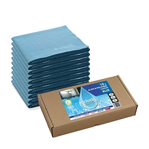 10 e-cloth Glas- und Poliertücher - Blau. Multipacket für professionelles Reinigen.
