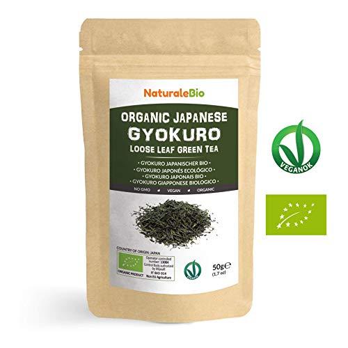 Thé vert Gyokuro Japonais Bio de 50g | 100 % Bio, Naturel et Pur, Thé vert en vrac de première récolte cultivée au Japon | Organic Japanese Gyokuro Green Tea | NATURALEBIO