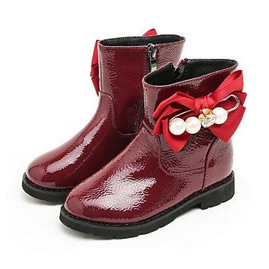 kekafu Las niñas zapatos Charol moda otoño invierno pelusas Forro Botas/botines botas Bota Botines Bowknot Para Vestido de Boda Gris rojo,rojo,US9.5 / UE26 / UK8.5 Toddle