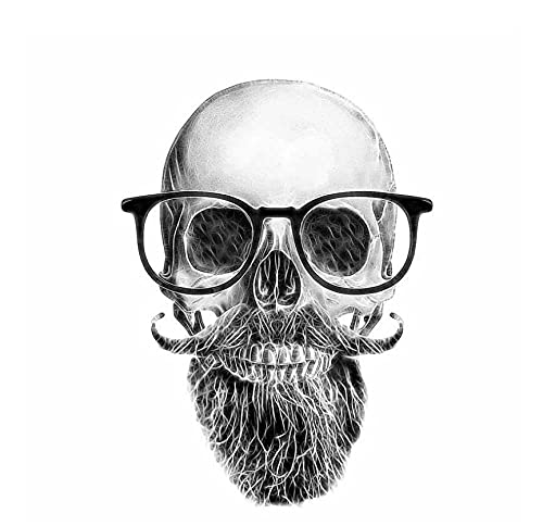 MDGCYDR Pegatinas Coche Personalizadas 11,4 Cm * 15,6 Cm Pegatina Divertida para Coche Calavera Bigote Barba Gafas Calcomanía Accesorios para Coche