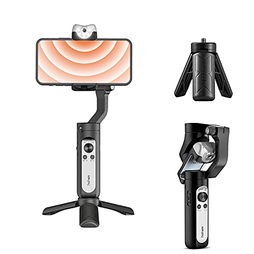 hohem iSteady V2 Gimbal Stabilizer for Smartphone,3-Axis Handheld Professional Video Stabilizers with Grip AI Tracking Type-C Reverse Charging Adjustable LED Video Light for Vlog Live YouTube TikTok