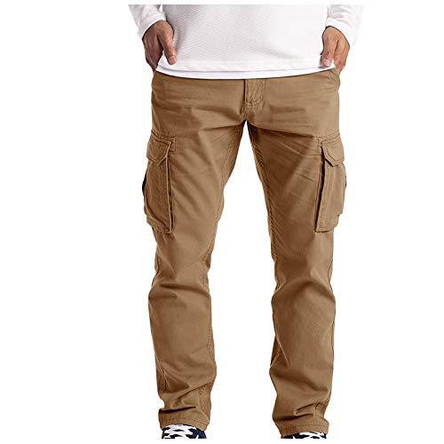 YUKK Pantalon Homme Nouveau Cargo Militaire Casual, Multi Poches Ceinture Élastique Long Pants Grande Taille Jeans Dechiré Sport Jogging Activewear Slim Fit durables Travail Workout Pantalon