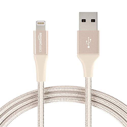 AmazonBasics - Cavo compatibile da USB A a Lightning, in nylon a doppio intreccio - Certificato Apple Mfi, Oro, 1,8 m