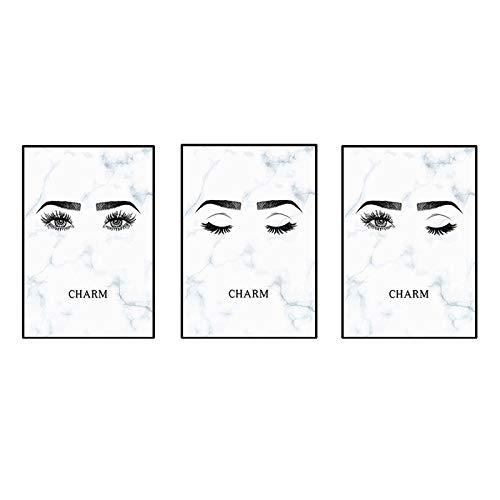 Pintura en Lienzo Maquillaje Ojos Arte Hermosa impresión y póster Pestañas Cuadro artístico Maquillaje para habitación de niña Decoración de la Pared del hogar 11.8