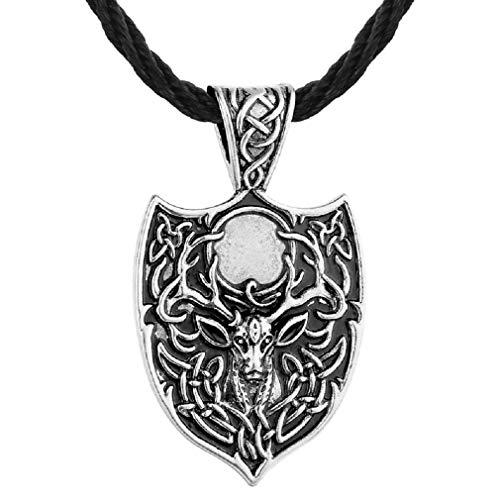 "Norse Viking Deer Necklace for Men, Vintage Elk Pendant Necklace with 19.7"" Chain, Celtic Deer Head Totem Amulet Necklace, Viking Runes Talisman Necklace, Punk Animal Deer Jewelry Gift (Silver)"