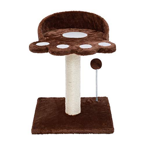 Poils bebe Tiragraffi moderno a forma di torre in sisal naturale con piattaforma e peluche a forma di palla per gatti per gattini e piccoli gatti (marrone)