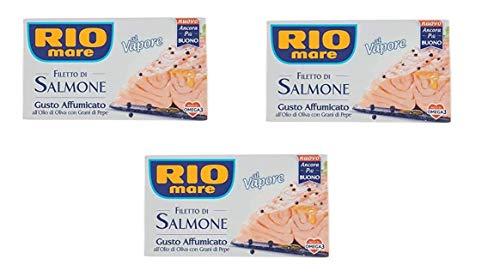 Rio Mare Salmone Affumicato Lot de 3 bouteilles d'huile d'olive avec poivre 125 g