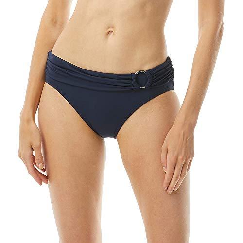 Michael Kors Iconic Solids Logo Ring Bikini Bottoms Navy LG