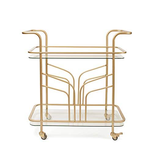PLHMS 2-Tier Servierwagen, Round Gold Bar-Wagen mit Rädern, Chrom-Metall Bar Tee Weinflaschenhalter Servierwagen mit gehärtetem Glas