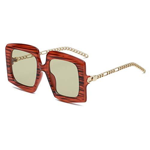 chuanglanja Gafas De Sol Wayfarer Gafas De Sol De Moda Mujer Hombre Cuadrado Leopardo Lente De Pc Aleación Marco De Metal Gafas De Sol Negras-Color-E
