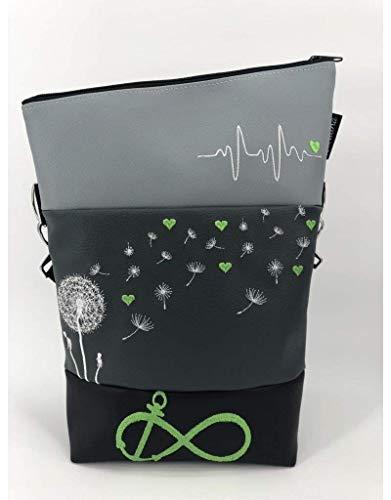 Handtasche Pusteblume Herzen grün Tasche Foldover Schultertasche