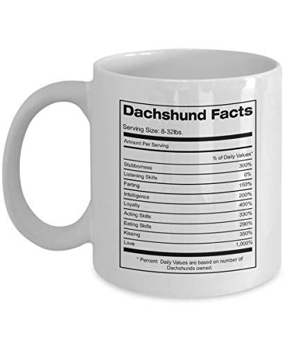 Funny Dachshund Facts Mug for Women, Dachshund Facts Mug for Men, Dachshund Mug for Mom, Dachshund Mug for Dad, Dachshund Facts Mug for Dachshund Owners, Dachshund Supplement Facts Design Mug, 11oz