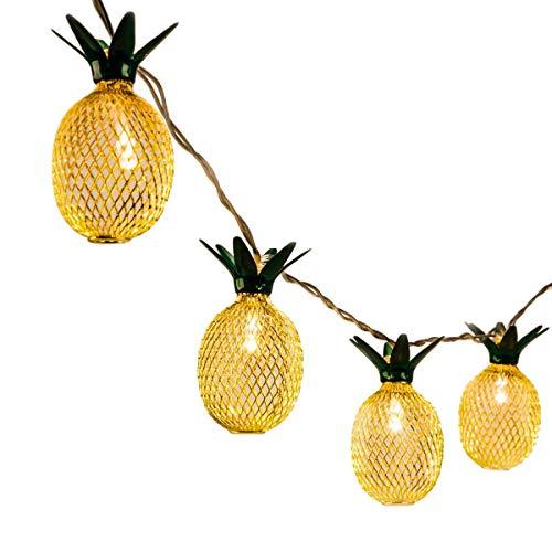 GZQ LED chaîne lumières ananas décoratif fée lampe batterie alimenté pour la maison mariage fête d'anniversaire chambre jardin patio arbre de noël vacances cadeau (blanc chaud) (2 M 20 LED)