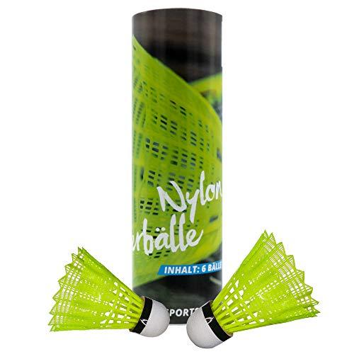 PiNAO Sports - Badmintonbälle aus Nylon, Gelb (42303) [6 Stück, Federball, Federbälle, Nylon, Nylonfederball]