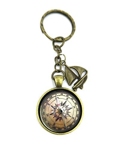 Kompass Motiv Cabochon Schlüsselanhänger mit Segelboot Modeschmuck Bronze-Farben