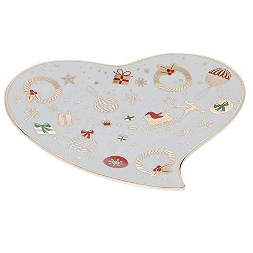 Brandani 53033 Alleluia Piccolo Cuore Modello Vassoio In Porcellana, Bianco