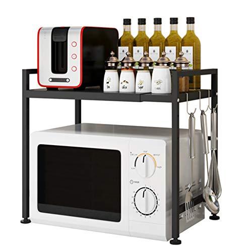 Grille de four à micro-ondes, étagère d'armoire en acier au carbone 3 crochets 2 niveaux, hauteur réglable, étagère de fournitures de cuisine réglable, espace de rangement durable, cuisinière, noir