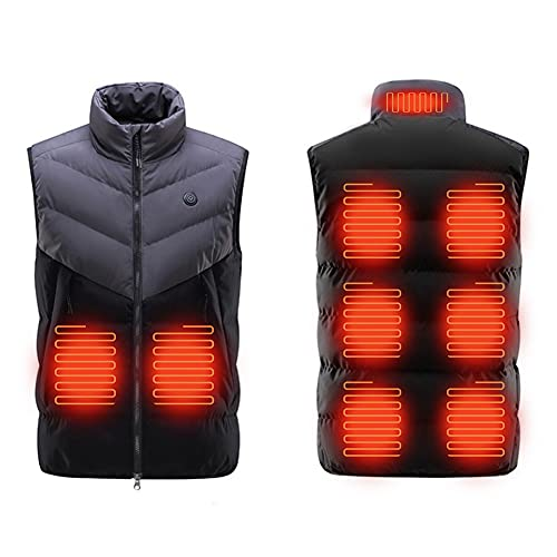 XING Chaleco calefactor para hombre con USB 9 zonas de calefacción, 3 niveles de calefacción, lavable a máquina, recargable para trabajo casual, viaje al aire libre, batería no incluida, M gris
