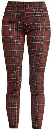 Fashion Victim Leggings a Cuadros Mujer Leggins Rojo M, 95% Polyester,