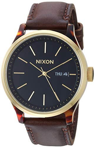 NIXON Sentry Luxe A1263-100m Water Resistant Men's Analog Fashion Watch (42mm Watch Face, 21mm-19mm Leather Band)