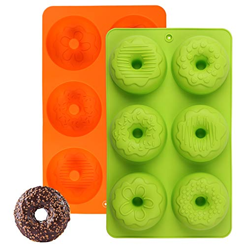 Silicone Donut Pan, Silicone Doughnut Baking Mold 2 Pc Non-stick Donut Molds for Cake Biscuit Bagels (Green + Orange)