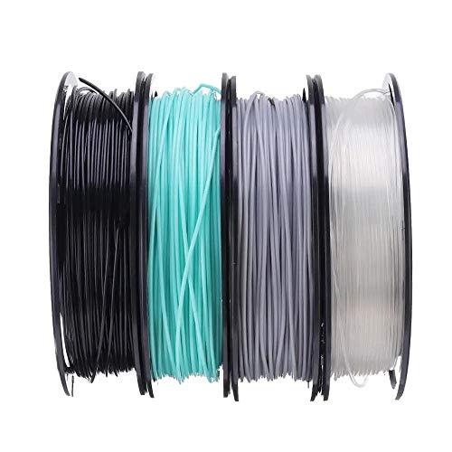 MICEROSHE Filament d'imprimante 3D Pro Noir + Cyan + Gris + Set Transparent 200g / Rouleau 1.75mm Filament St-PLA for imprimante 3D (Couleur : Multicolore, Taille : 1.75mm)