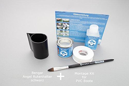 Set: hengelhouder lus + lijm kit, om op te plakken voor rubberboten (zwart)