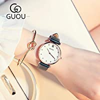 QTMIAO 美しいドレスウォッチ時計 さんクォーツ時計レディース腕時計気質ベルトカジュアルな時計は、表面シェル (Color : 5)