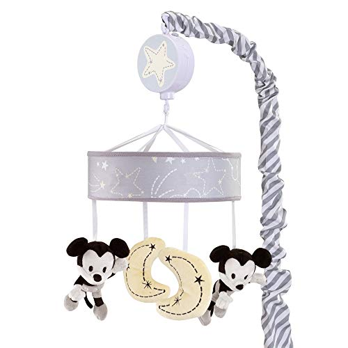 Lambs & Ivy Disney Baby Mickey Mouse Musical Baby Crib Mobile, Gray/Yellow