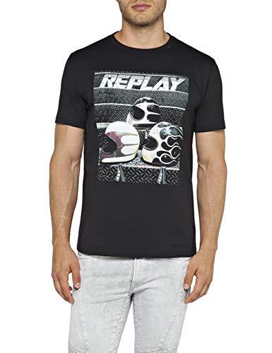 REPLAY M3730 .000.2660 Camiseta, Negro (Blackboard 99), XX-Large para Hombre
