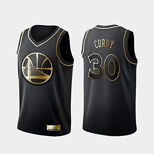 xiaotianshi Jerseys de la NBA de los Hombres, Golden State Warriors # 30 Stephen Curry Transpirable Resistente a la Malla Bordada Camisetas de Baloncesto,Negro,XXL