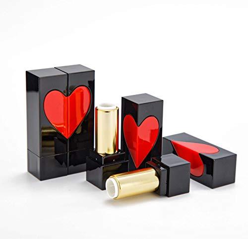 E-Meoly Tom läppstift tub bärbar fyrkantigt hjärta läppbalsam rör flaska inre diameter 12,1 mm läpproge förvaring kosmetisk glansbehållare gör-det-själv läppstift rör, 10 st förpackade
