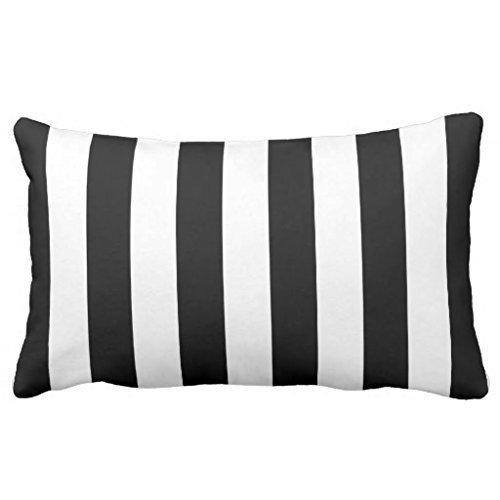 Decams Fundas de cojín a rayas blancas y negras de 50,8 x 76,2 cm