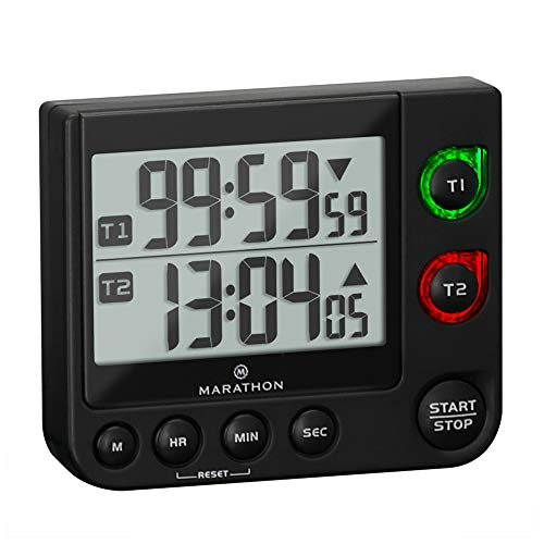 Marathon Dual Timer with Large Display, Countdown/Up, Blinking Alarm, Adjustable Sound, Magnetic Back and Stand, Batteries Included (Double Timer Black)