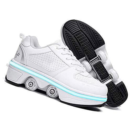 FUYY Zapatos Ruedas Niñas Niñas Zapatos De Ruedas Niños Quad Roller Patines Zapatos LED Zapatos Luz 2 En 1multifuncional Zapatos Deformes Rollers Al Aire Libre,White Low top-38